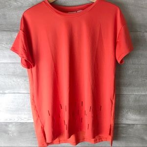 Reebok Red perforated active short sleeve tee